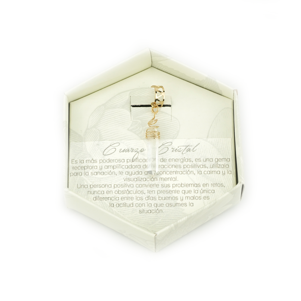 Cuarzo Cristal Ear Cuff Dorado_1