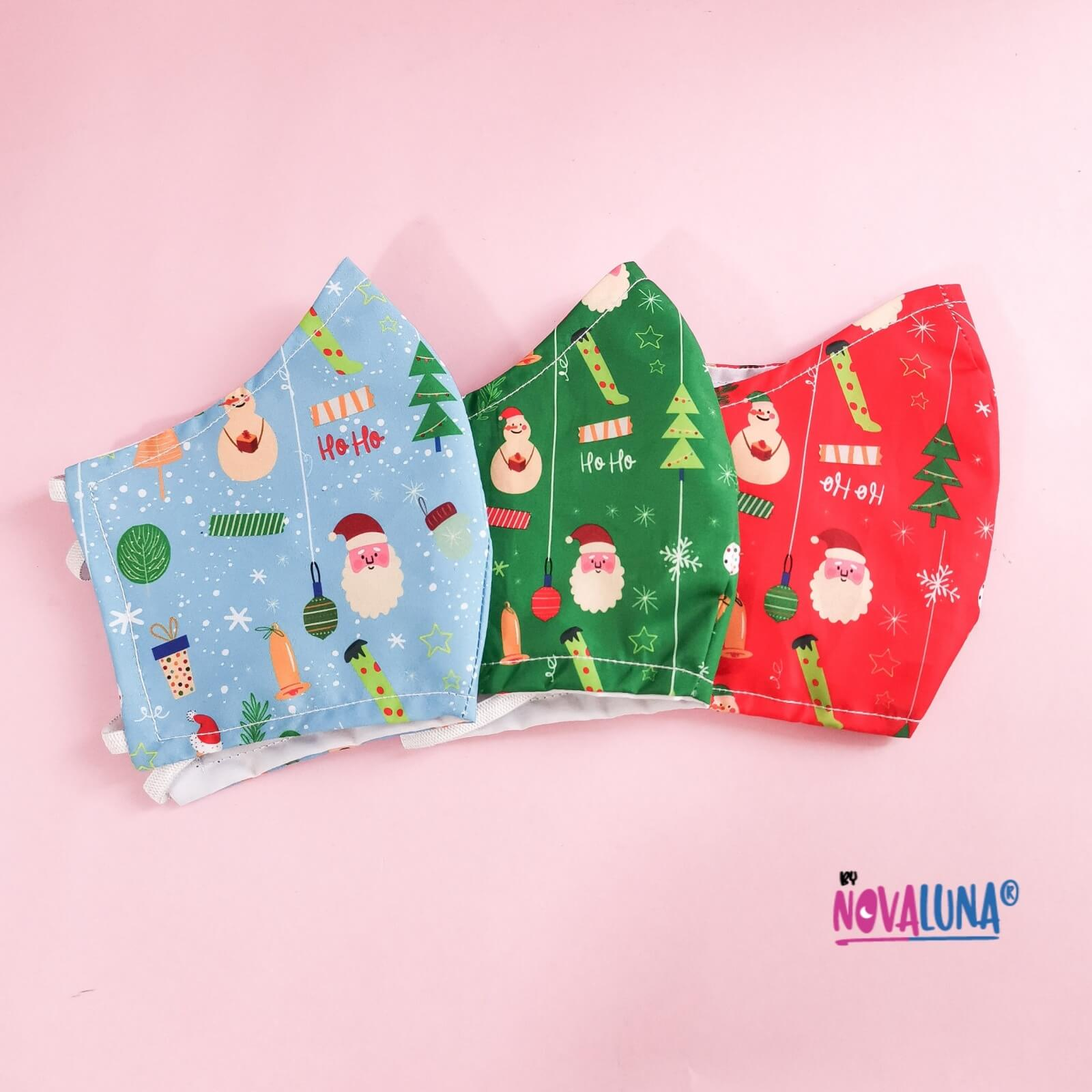 Kit x 3 Tapabocas Navidad mujer _1