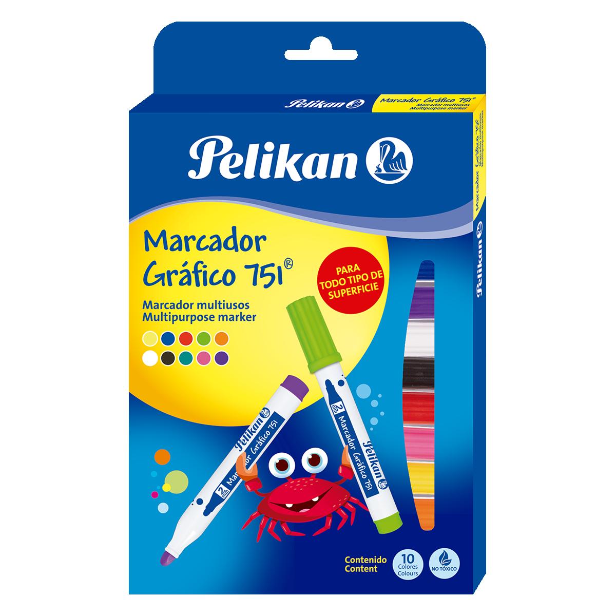 MARCADOR GRAFICO 751 X10 COLORES PELIKAN_1